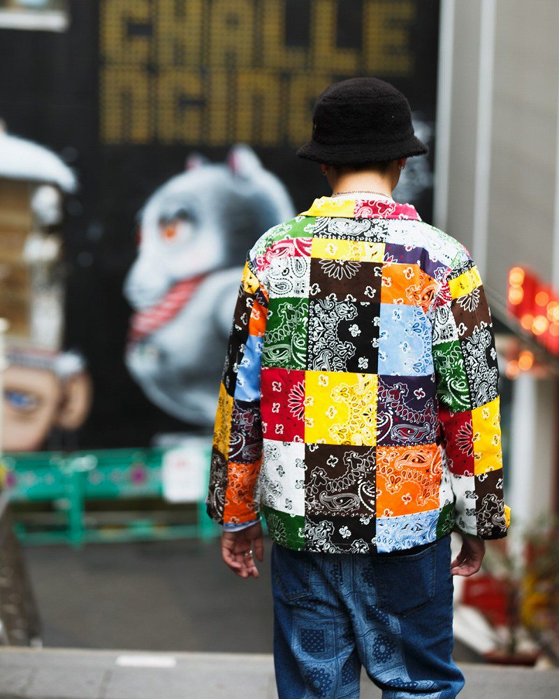 マルチカラーパッチワークバンダナシャツジャケットの画像4